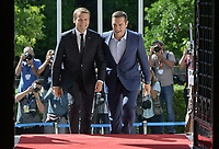 Pictured: French President Emmanuel Macron meets Greek Prime Minister Alexis Tsiptas at Megaro Maximou (Maximou Mansion) in Athens, Greece. Thurday 07 September 2017<br /> Re: French President Emmanuel Macron state visit to Athens, Greece.