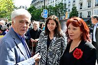 Guy BEDOS, Anne HIDALGO, Pia MOUSTAKI - Inauguration Place Georges Moustaki - 23/5/2017 - Paris - France