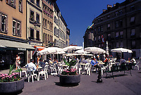 outdoor café, Switzerland, Geneva, Outdoor café at Place du Bourg de Four in the old town of the city of Geneva.