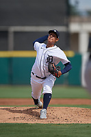 Detroit Tigers pitcher Keider Montero (52) during a Florida Instructional League game against the Pittsburgh Pirates on October 16, 2020 at Joker Marchant Stadium in Lakeland, Florida.  (Mike Janes/Four Seam Images)