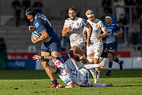 3rd October 2021; AJ Bell stadium, Eccles, Greater Manchester, England: Gallagher Premiership Rugby, Sale v Exeter ; Stuart Hogg of Exeter Chiefs misses a tackle on JP du Preez of Sale Sharks
