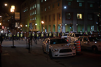 Montreal, CANADA, April 7 2015. <br /> <br /> A feminist demonstration is stopped by Montreal Police, near Concordia University<br /> <br />  Photo : Philippe Manh Nguyen - Agence Quebec Presse