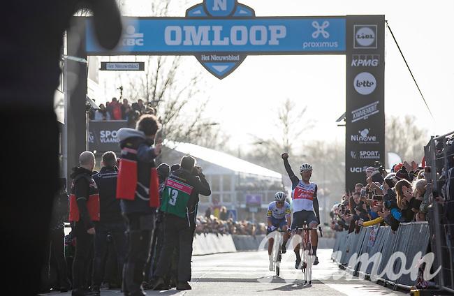 Jasper Stuyven (BEL/Trek Segafredo) wins the 75th Omloop Het Nieuwsblad 2020 (BEL)<br /> Men Elite Race<br /> Gent – Ninove: 200km<br /> <br /> ©kramon