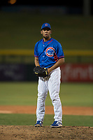 AZL Cubs 2 relief pitcher Fernando Calderon (57) prepares to deliver a pitch during an Arizona League game against the AZL Rangers at Sloan Park on July 7, 2018 in Mesa, Arizona. AZL Rangers defeated AZL Cubs 2 11-2. (Zachary Lucy/Four Seam Images)