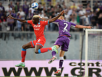 Victor Osimhen of SSC Napoli and Lucas Martinez Quarta of ACF Fiorentina during the Serie A 2021/2022 football match between ACF Fiorentina and SSC Napoli at Artemio Franchi stadium in Florence (Italy), October 3rd, 2021. Photo Andrea Staccioli / Insidefoto