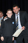 St Johnstone FC Youth Academy Presentation Night at Perth Concert Hall..21.04.14<br /> Callum Davidson presents to Joshua Scoon<br /> Picture by Graeme Hart.<br /> Copyright Perthshire Picture Agency<br /> Tel: 01738 623350  Mobile: 07990 594431