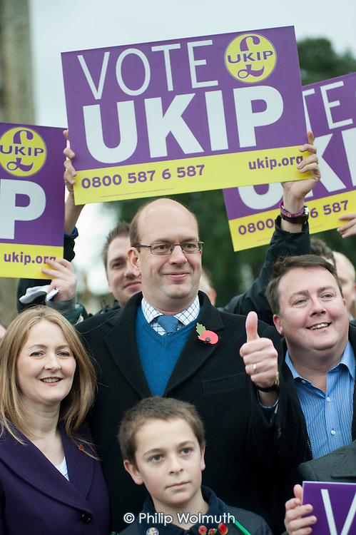 Mark Reckless.  UKIP leader Nigel Farage and ex-Tory MP Mark Reckless, the UKIP candidate, campaign in Rochester before the Rochester and Strood by-election.