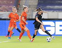 HOUSTON, TX - SEPTEMBER 10: Morgan Gautrat #13 of the Chicago Red Stars dribbles the ball away from Sophie Schmidt #13 of the Houston Dash during a game between Chicago Red Stars and Houston Dash at BBVA Stadium on September 10, 2021 in Houston, Texas.