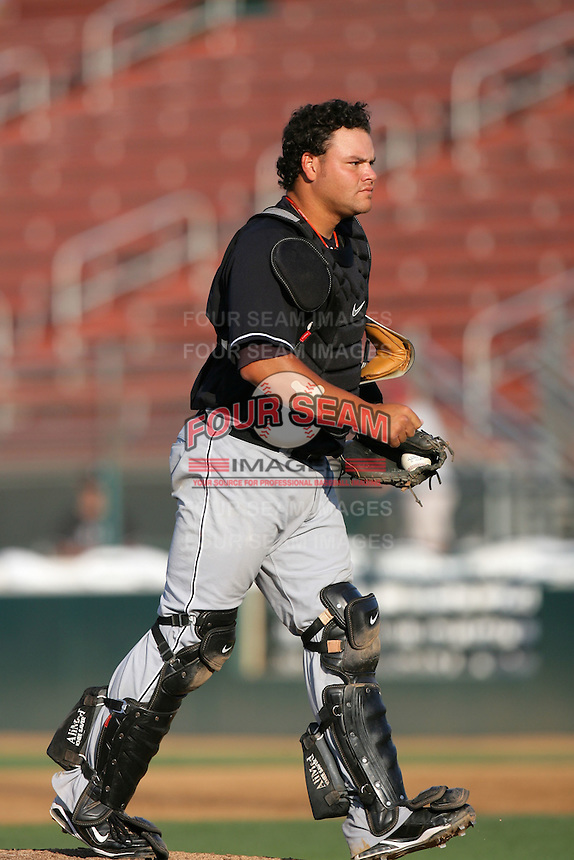 August 9 2009: Nestor Rojas of the San Jose Giants during game against the Rancho Cucamonga Quakes at The Epicenter in Rancho Cucamonga,CA.  Photo by Larry Goren/Four Seam Images