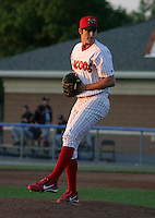 June 30, 2003:  pitcher Justin Libey of the Batavia Muckdogs during a game at Dwyer Stadium in Batavia, New York.  Photo by:  Mike Janes/Four Seam Images