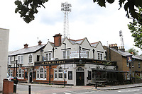 Brentford is famous for being the only football ground in England that has a pub at every corner. The Princess Royal is a Fuller's pub during Brentford vs Charlton Athletic, Sky Bet EFL Championship Football at Griffin Park on 7th July 2020