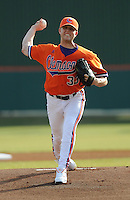 RHP Scott Weisman (33) of the Clemson Tigers pitches in a game against the Eastern Michigan Eagles on opening day, Friday, Feb. 18, 2011, at Doug Kingsmore Stadium in Clemson, S.C. Photo by Tom Priddy / Four Seam Images