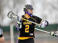 10 April 2011: University at Albany Great Dane attacker Miles Thompson, a Freshman from Nedrow, NY, in action against the University of Vermont Catamounts on Moulton Winder Field in Burlington, Vermont. The Catamounts defeated the visiting Danes 11-6 in America East play. Mandatory Credit: Ed Wolfstein Photo