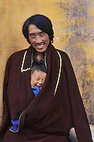 Man and child in Tongen, Amdo, Eastern Tibet, 2005