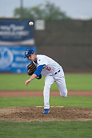Ogden Raptors relief pitcher Connor Mitchell (16) delivers a pitch during a Pioneer League game against the Great Falls Voyagers at Lindquist Field on August 23, 2018 in Ogden, Utah. The Ogden Raptors defeated the Great Falls Voyagers by a score of 8-7. (Zachary Lucy/Four Seam Images)