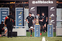 25th September 2021; Townsville, Gold Coast, Australia;  Ardie Savea leads the All Blacks onto the field. All Blacks versus Springboks. The Rugby Championship. 100th Rugby Union test match between New Zealand and South Africa.
