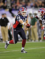 3 December 2009: Buffalo Bills' quarterback Ryan Fitzpatrick sets to hand off in a play against the New York Jets at the Rogers Centre in Toronto, Ontario, Canada. The Bills fell to the Jets 19-13. Mandatory Credit: Ed Wolfstein Photo