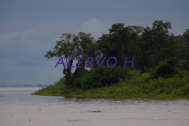 Na foz do Amazonas as águas do rio leva sedimentos ao mar criando grandes manguezais no litoral da região. A força das águas, aliada ao fenômeno da Pororoca na foz do Amazonas, causa o desmoronamento das margens  carregando consigo árvores, embarcações e outros objetos que se interponham à sua passagem violenta na região das ilhas Cavianas, um  dos últimos pedaços de terra no rio Amazonas em seu encontro com o  Atlântico.Marajó, Chaves, ilhas Caviana, Pará, Brasil.Foto: Paulo Santos16/06/2011