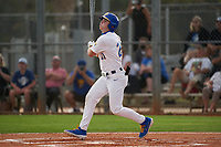 Pitt Panthers Kyle Hess (21) bats during the teams opening game of the season against the Indiana State Sycamores on February 19, 2021 at North Charlotte Regional Park in Port Charlotte, Florida.  (Mike Janes/Four Seam Images)
