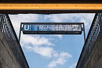 """Die Berliner Verkehrsbetriebe, BVG, wollen als Zeichen des Antirassismus die U-Bahnstation """"Mohrenstrasse"""" im Bezirk Mitte in nach dem russischen Komponisten Michail Iwanowitsch Glinka in """"Glinkastrasse"""" umbenennen. Das Problem ist, dass der russische Komponist (1804 bis 1857) in einigen seiner Kompositionen antisemitischen Diskriminierungen und angebliche juedische Verschwoerungen vertritt.<br /> Im Bild: Eingang zum U-Bahnhof Mohrenstrasse.<br /> 14.7.2020, Berlin<br /> Copyright: Christian-Ditsch.de<br /> NUR FUER REDAKTIONELLE ZWECKE! Werbung nur auf Anfrage beim Fotografen. [Inhaltsveraendernde Manipulation des Fotos nur nach ausdruecklicher Genehmigung des Fotografen. Vereinbarungen ueber Abtretung von Persoenlichkeitsrechten/Model Release der abgebildeten Person/Personen liegen nicht vor. NO MODEL RELEASE! Don't publish without copyright Christian-Ditsch.de, Veroeffentlichung nur mit Fotografennennung, sowie gegen Honorar, MwSt. und Beleg. Konto: I N G - D i B a, IBAN DE58500105175400192269, BIC INGDDEFFXXX, Kontakt: post@christian-ditsch.de<br /> Bei der Bearbeitung der Dateiinformationen darf die Urheberkennzeichnung in den EXIF- und  IPTC-Daten nicht entfernt werden, diese sind in digitalen Medien nach §95c UrhG rechtlich geschuetzt. Der Urhebervermerk wird gemaess §13 UrhG verlangt.]"""