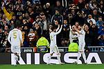 Francisco Alarcon 'Isco' (L) and Karim Benzema (R) of Real Madrid celebrate goal during UEFA Champions League match between Real Madrid and Paris Saint-Germain FC at Santiago Bernabeu Stadium in Madrid, Spain. November 26, 2019. (ALTERPHOTOS/A. Perez Meca)