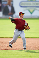 Mahoning Valley Scrappers third baseman Gavin Collins (44) throws to first during the first game of a doubleheader against the Batavia Muckdogs on August 17, 2016 at Dwyer Stadium in Batavia, New York.  Mahoning Valley defeated Batavia 10-3.  (Mike Janes/Four Seam Images)