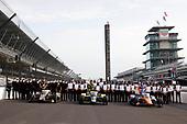 The front row of #21: Rinus VeeKay, Ed Carpenter Racing Chevrolet, #26: Colton Herta, Andretti Autosport Honda and #9: Scott Dixon, Chip Ganassi Racing Honda with Chevrolet Ilmor and Honda HPD engineers