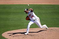 Baltimore Orioles pitcher Fernando Abad (58) during a Major League Spring Training game against the Pittsburgh Pirates on February 28, 2021 at Ed Smith Stadium in Sarasota, Florida.  (Mike Janes/Four Seam Images)