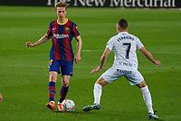 15th march 2021; Camp Nou, Barcelona, Catalonia, Spain; La Liga Football, Barcelona versus Huesca;  Frenkie de Jong of Barcelona takes on David Ferreiro of Huesca