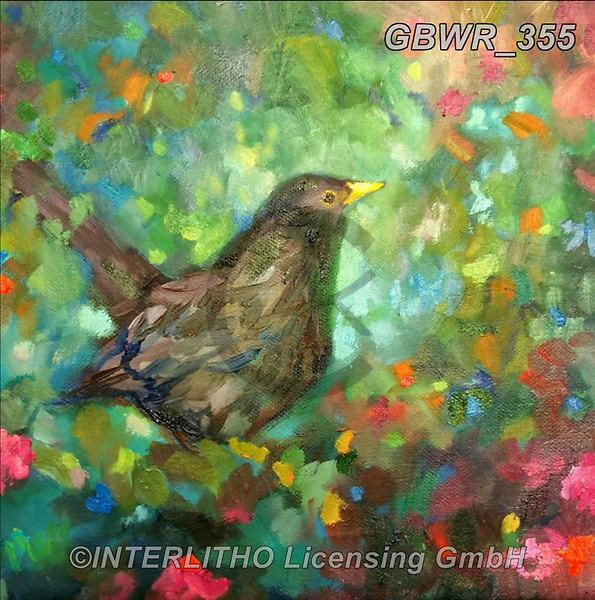 Simon, REALISTIC ANIMALS, REALISTISCHE TIERE, ANIMALES REALISTICOS, innovativ, paintings+++++SueGardner_Blackbird,GBWR355,#a#, EVERYDAY