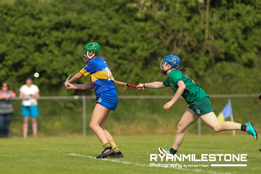 Tipperary's Casey Hennessy in action against Meath's Emma McGill during the Liberty Insurance All Ireland Senior Camogie Championship Round 1 between Tipperary and Meath at the Ragg, Co Tipperary. Photo By Michael P Ryan.
