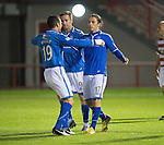 Hamilton Accies v St Johnstone...24.09.13      League Cup<br /> Stevie May celebrates his second goal with Gary Miller<br /> Picture by Graeme Hart.<br /> Copyright Perthshire Picture Agency<br /> Tel: 01738 623350  Mobile: 07990 594431