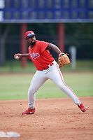 Philadelphia Phillies third baseman D.J. Stewart (10) throws to first base during an Instructional League game against the Toronto Blue Jays on September 30, 2017 at the Carpenter Complex in Clearwater, Florida.  (Mike Janes/Four Seam Images)