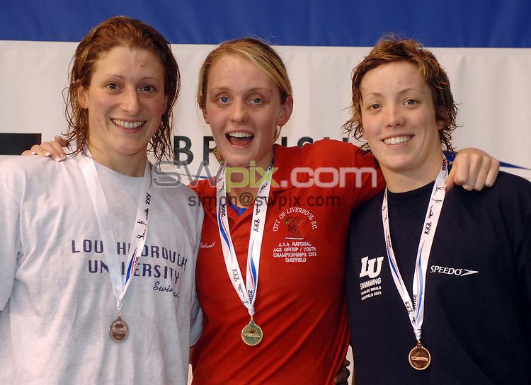Pix: Chris Whiteoak/SWpix.com. Swimming, British Long Course Swimming Championships, 9/4/06..copyright picture>>simon wilkinson>>07811267706>>..Winners of the womens 50m freestyle: Gold Francesca Halsall, Silver Ros Brett, Bronze Aimee Ramm