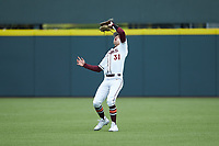Virginia Tech Hokies center fielder Jack Hurley (31) catches a fly ball during the game against the Georgia Tech Yellow Jackets at English Field on April 17, 2021 in Blacksburg, Virginia. (Brian Westerholt/Four Seam Images)