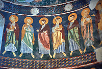 Interior Byzantine Romanesque style Christian frescoes, Santissima Trinita di Saccargia, consecrated 1116 AD, Codrongianos, Sardinia.