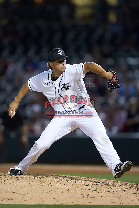 South Carolina Gamecocks relief pitcher Carmen Mlodzinski (21) in action against the North Carolina Tar Heels at BB&T BallPark on April 3, 2018 in Charlotte, North Carolina. The Tar Heels defeated the Gamecocks 11-3. (Brian Westerholt/Four Seam Images)