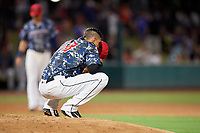 Jacksonville Jumbo Shrimp relief pitcher Jorgan Cavanerio (18) takes a moment on the mound during a game against the Mobile BayBears on April 14, 2018 at Baseball Grounds of Jacksonville in Jacksonville, Florida.  Mobile defeated Jacksonville 13-3.  (Mike Janes/Four Seam Images)