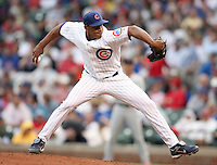 August 18, 2007: Carlos Marmol the Chicago Cubs pitching against the St. Louis Cardinals at Wrigley Field in Chicago, IL.  Photo by:  Chris Proctor/Four Seam Images