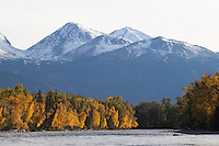 Distant mountains loom over the upper Kenai River in late fall.
