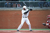 Zack Smith (19) of the Charlotte 49ers at bat against the Arkansas Razorbacks at Hayes Stadium on March 21, 2018 in Charlotte, North Carolina.  The 49ers defeated the Razorbacks 6-3.  (Brian Westerholt/Four Seam Images)