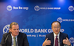 23 July 2014, New Delhi, India: President of the World Bank, Mr Jim Yong Kim addresses a press conference  flanked by Country Director Onno Ruhl (at left) on issues and projects being undertaken by the World Bank during his visit to India and his discussions with Prime Minister Modi. Picture by Graham Crouch/World Bank