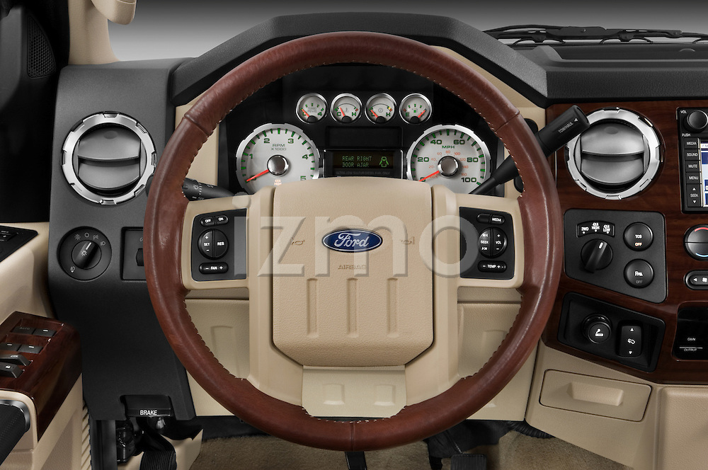 Steering wheel detail view of a 2008 Ford F350 Crew Cab