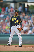 Salt Lake Bees starting pitcher Ivan Pineyro (29) looks home for the sign against the El Paso Chihuahuas at Smith's Ballpark on August 13, 2018 in Salt Lake City, Utah. Salt Lake defeated El Paso 4-3. (Stephen Smith/Four Seam Images)
