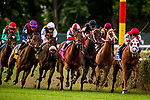 SEPT 07, 2019 : Spanish Mission, #9 (red cap) with Jaimie Spencer, wins the $1,000,000 Jockey Club Derby Invitational Stakes, for 3 year olds going 1 1/2 mile on turf, at Belmont Park, in Elmont, NY, Sept 7, 2019.  Dan Heary_ESW_CSM,