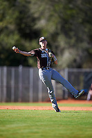 St. Bonaventure Bonnies shortstop Cole Peterson (19) throws to first base during a game against the Dartmouth Big Green on February 25, 2017 at North Charlotte Regional Park in Port Charlotte, Florida.  St. Bonaventure defeated Dartmouth 8-7.  (Mike Janes/Four Seam Images)