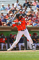 Wisconsin Timber Rattlers outfielder Joe Gray, Jr. (6)at bat  during a game against the Quad Cities River Bandits on July 11, 2021 at Neuroscience Group Field at Fox Cities Stadium in Grand Chute, Wisconsin.  (Brad Krause/Four Seam Images)