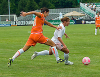 St Louis Athletica midfielder Lori Chalupny (17) carries the ball as Sky Blue FC  midfielder Yael Averbuch (10) pressures during a WPS match at Anheuser-Busch Soccer Park, in St. Louis, MO, June 7, 2009. Athletica won the match 1-0.