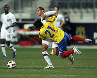 Jermaine Jones #15 of the USA MNT clashes with John Javier Restrepo #21 of Colombia during an international friendly match at PPL Park, on October 12 2010 in Chester, PA. The game ended in a 0-0 tie.