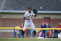 West Virginia Black Bears first baseman Huascar Fuentes (51) waits for a throw during a game against the Batavia Muckdogs on June 24, 2017 at Dwyer Stadium in Batavia, New York.  The game was suspended in the bottom of the third inning and completed on June 25th with West Virginia defeating Batavia 6-4.  (Mike Janes/Four Seam Images)